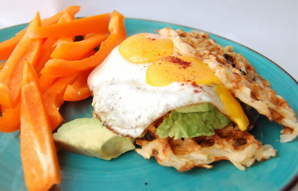 Hash Brown Potato Waffle Avocado Toast